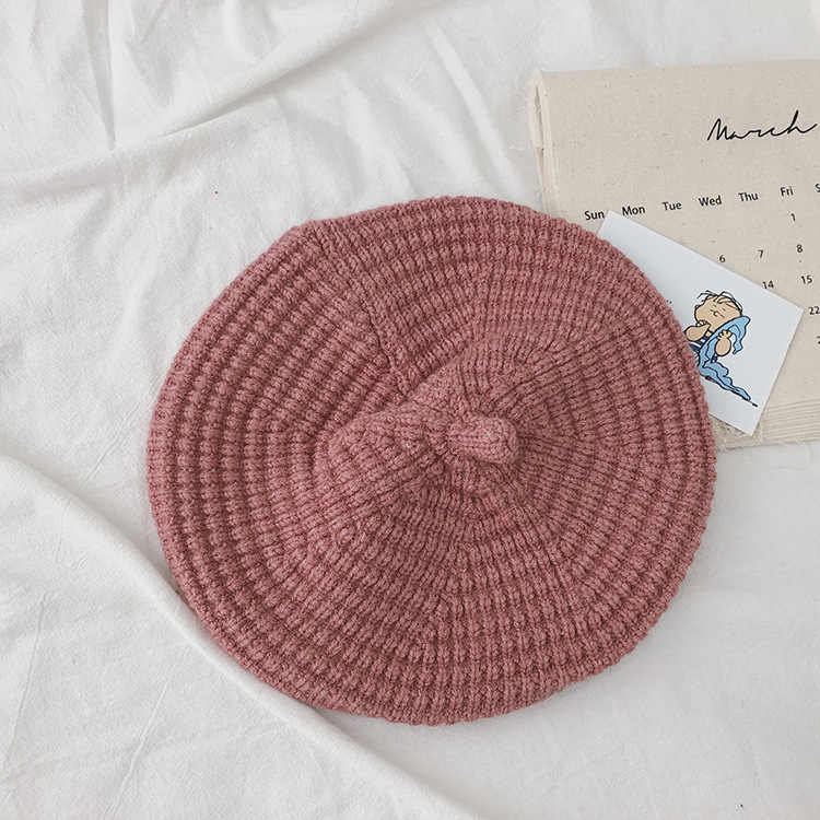 Gorro de lana hilado con núcleo para niñas 2019 otoño sombrero abrigado tejido para bebés