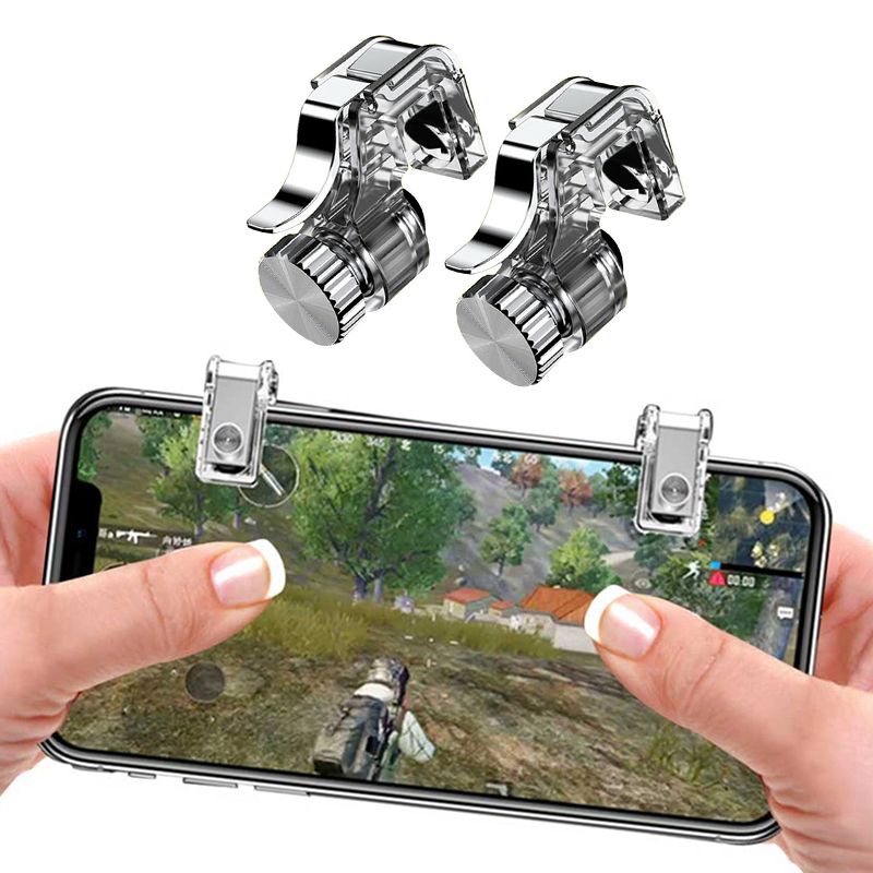2PCS Mobile Phone Game Fire Button Smart Phone Metal Game Trigger L1 R1 Shooter For Iphone Knives Out / Survival Rules / PUBG