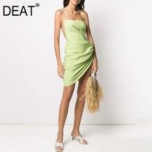 DEAT-vestido de verano con tirantes para chica, asimétrico, con caderas cubiertas, cordón, sexy, para vacaciones, WL94206L, novedad de 02021