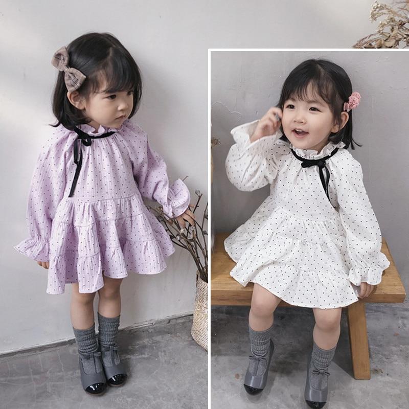Kids Dresses For Girls 2020 Spring Autumn New Baby Girl Polka Dot Print Dress Toddler Cute Long Sleeve Princess Dresses 2-7 Year