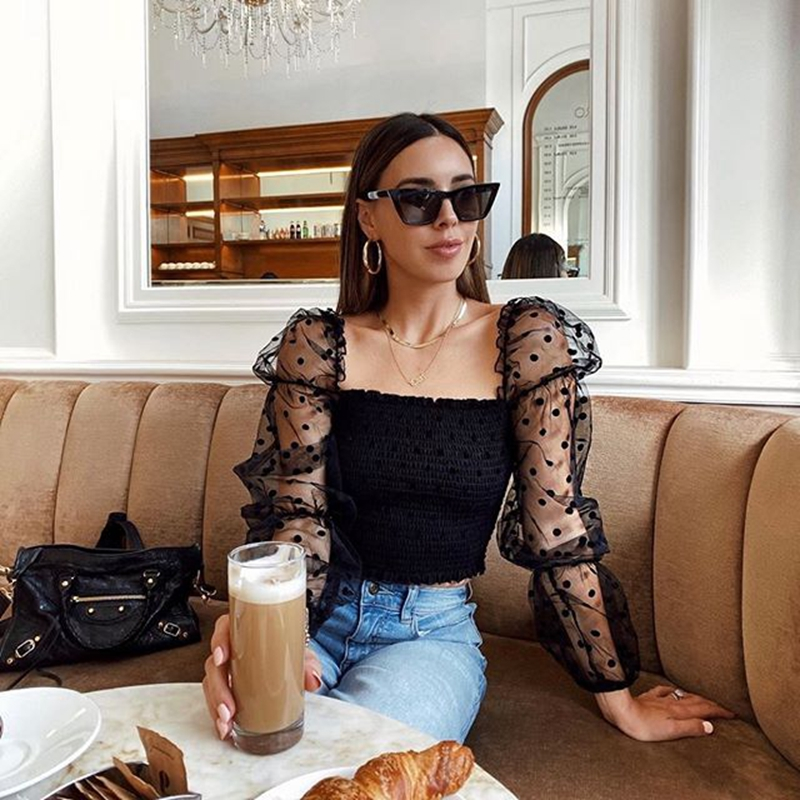Sexy Women Square Neck Lace See-through Polka Dot Puff Long Sleeve Elastic Crop Top Female Blouse Shirts Evening Party Clubwear