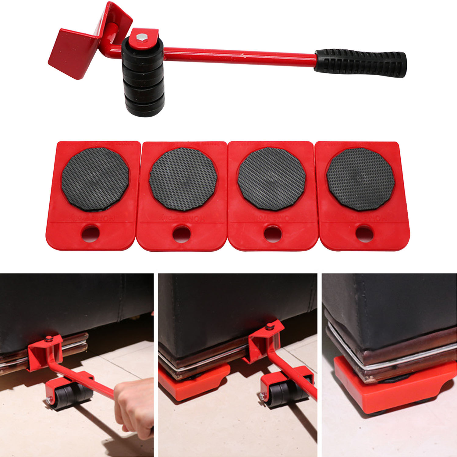 Portable Furniture Lifter Moving Transport Household Hand Tools Set Including 4 Mover Roller + 1 Wheel Bar