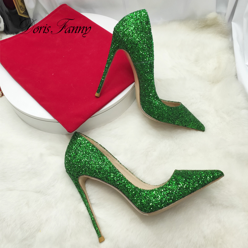 Doris Fanny Closed toe green glitter shoes party wedding women high heel shoes sexy stilettos women pumps - 3