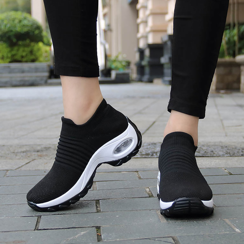 Women's Shoes Size 41/42 Damping Air Running Shoes Breathable Knitting Platform Sneakers Stripe Shoe For Sport Sneakers Women