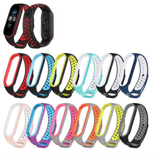 Double Color For Mi Band 5 Bracelet Strap Miband 5 Sport Strap Breathable Replacement Silicone Wrist Straps For Xiaomi Mi Banda