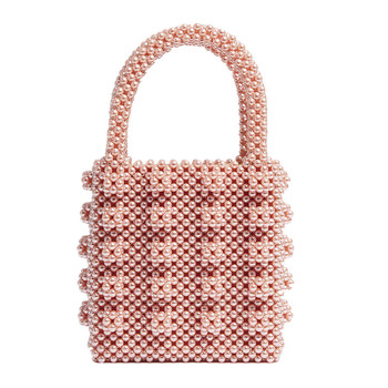 Women 2020 Pink pearls bag beaded box bucket totes bag women party elegant handbag black white rose pink wholesale