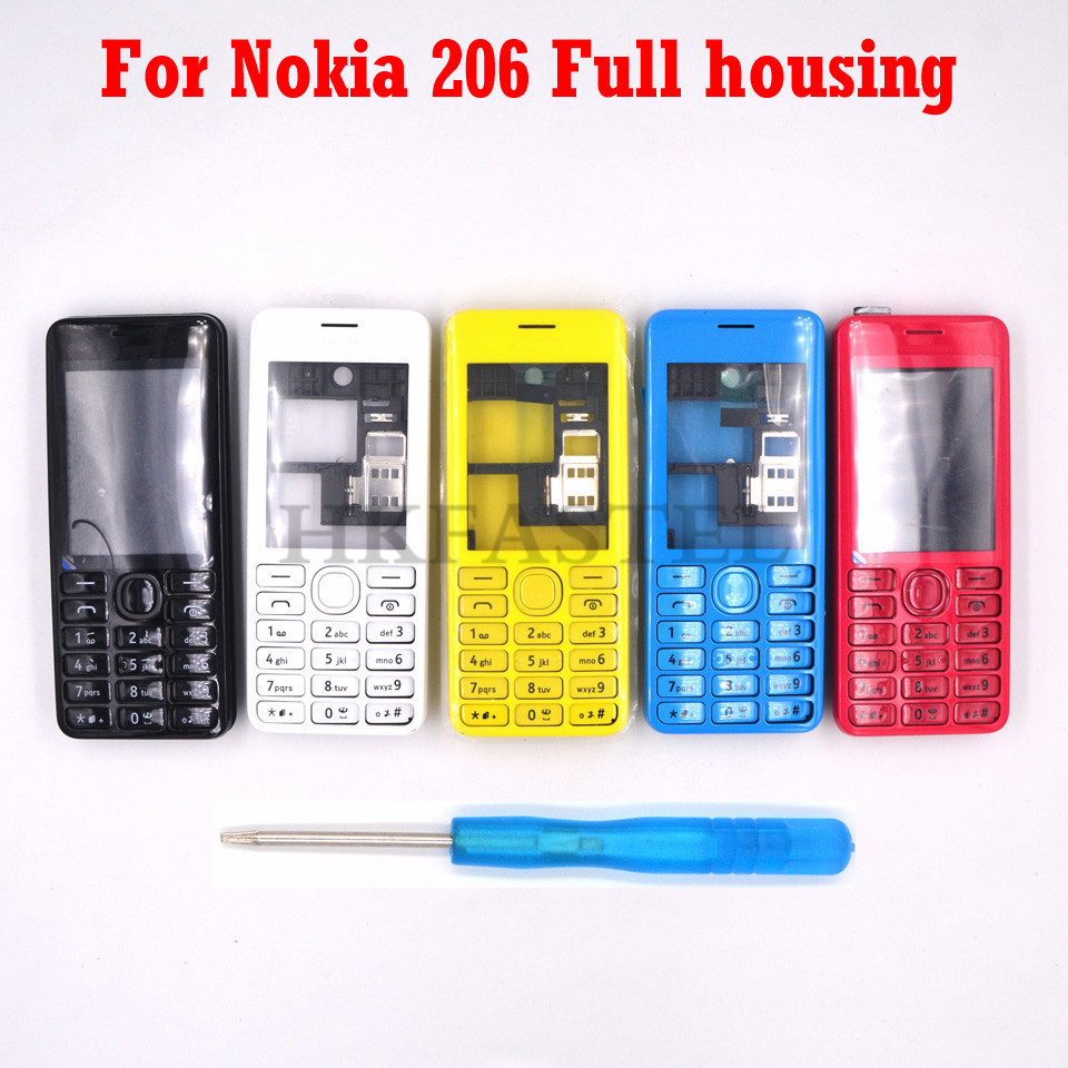New Full Phone Housing Cover Case+English / Russian / Heberw Keypad For Nokia 206 Dual Sim RM-872+Tool Free Shipping