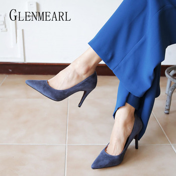 цена на Women Pumps High Heels Shoes Pointed Toe Brand Woman Wedding Shoes Spring Summer Thin Heels Office Lady Dress Shoes Plus Size