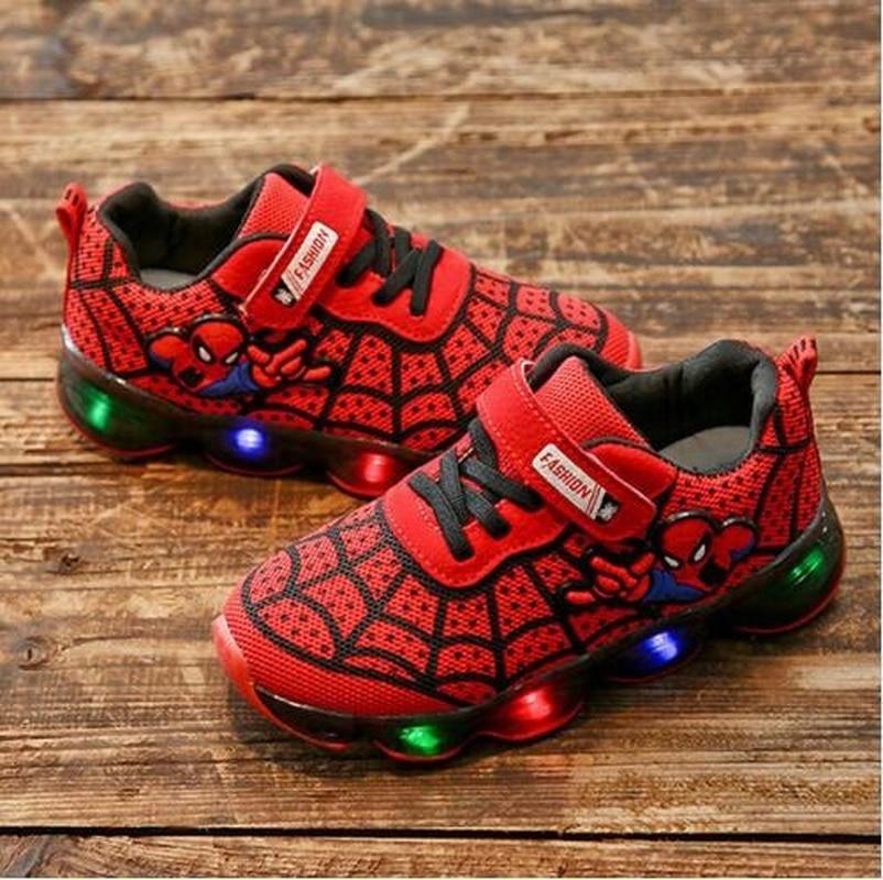 LED Luminous Spider man Kids Sneakers Boys Girls Light Athletic Non Slip Shoes