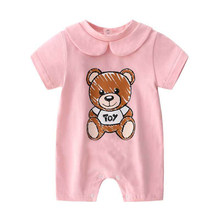 Nova moda verão bonito roupas de bebê recém-nascido unisex de manga curta algodão pouco impressão urso bb recém nascido do bebê menino menina macacão