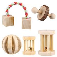 5 pièces en bois Hamster mâcher jouets soins des dents molaire naturel balle exercice jouer cloche rouleau jouet pour lapin lapins cochon d'inde animaux de compagnie