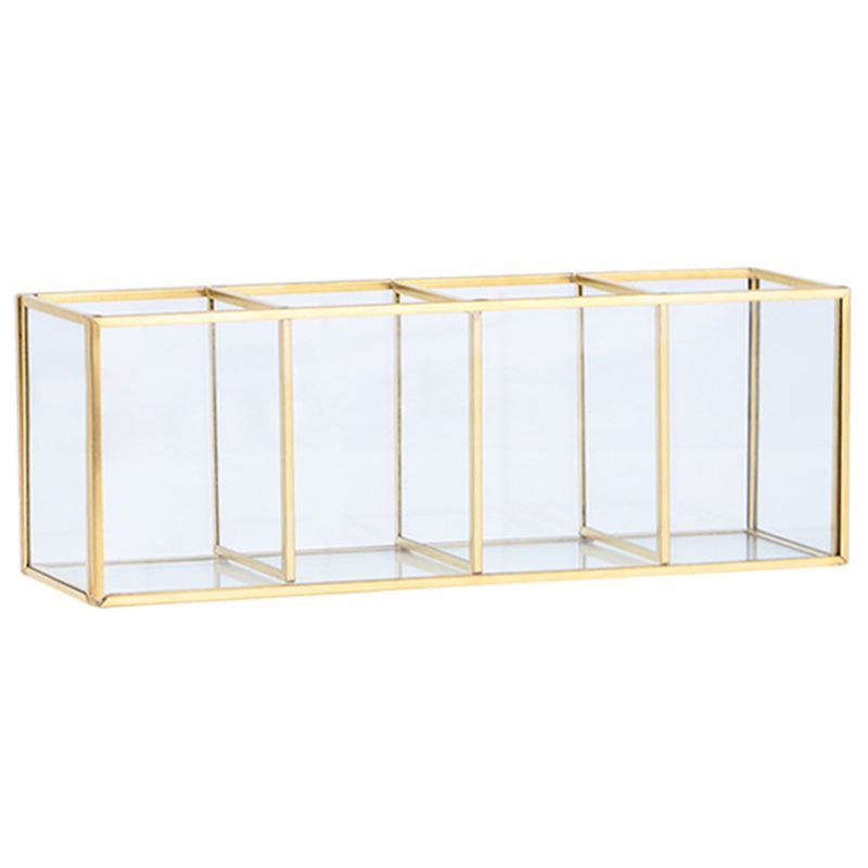 Nordic Gold Grid Glass Flip Storage Tank Box Luxury Modern Cosmetics Storage Box Container Micro-Landscape Flower Room C