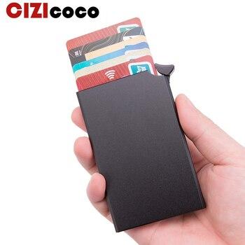 Aluminum Card holder Metal Men credit Holder Rfid Blocking Mini Slim Wallet Automatic Pop up  Case Protector - discount item  29% OFF Wallets & Holders
