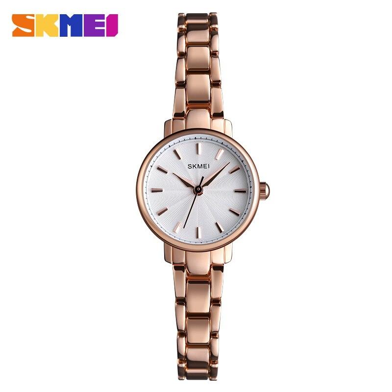 SKMEI Slim Bracelets Watch Stainless Steel Women Quartz Watch Luxury Analog Rose Gold Fashion Dress Ladies Wristwatches 1410