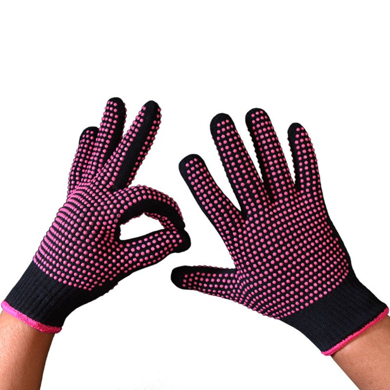 300 Centigrade Heat Resistant BBQ Gloves Cotton Silicone Non-Slip Hair Styling LX9E