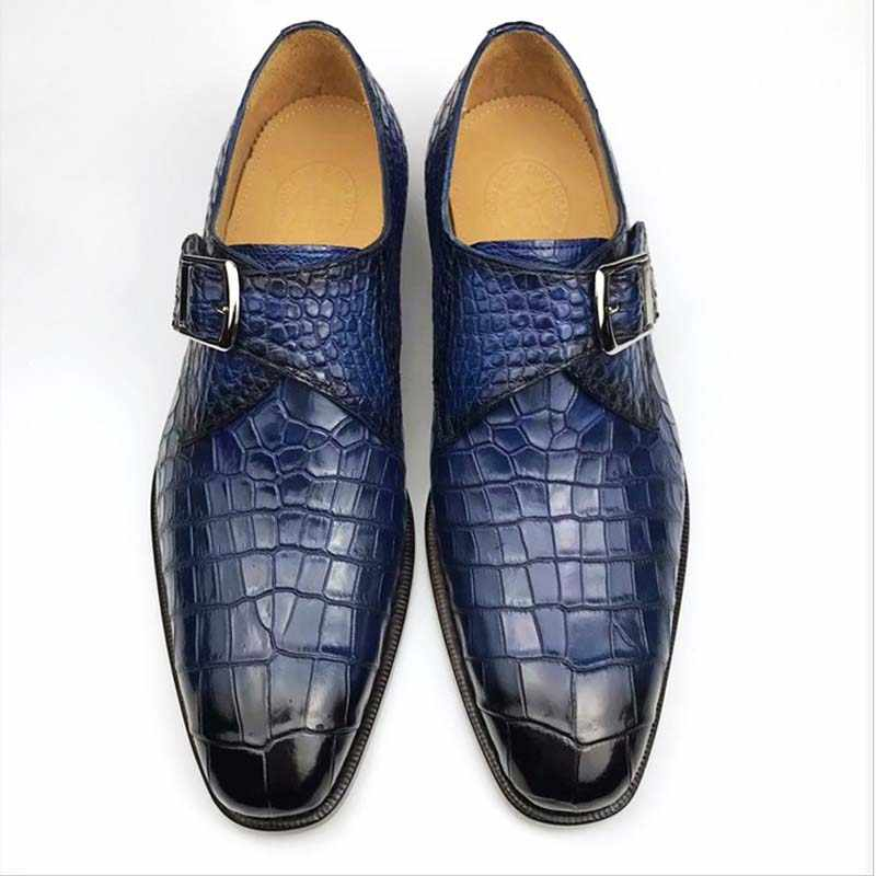 Men Croco Alligator Genuine Leather Dress British Business Buckle Formal Shoe SZ