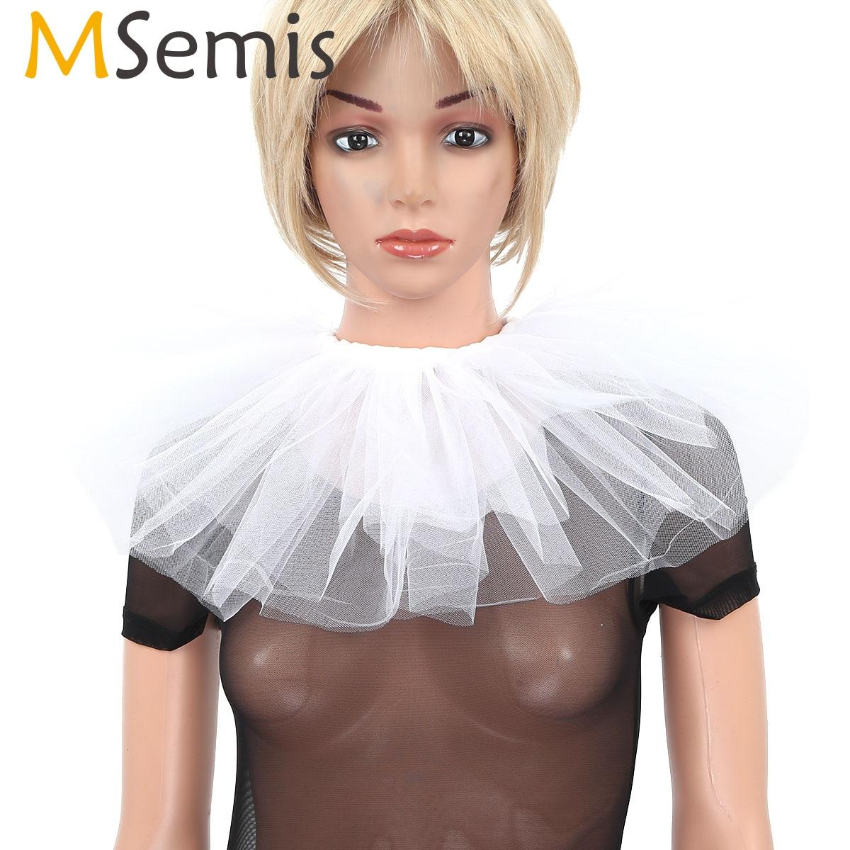MSemis Womens Vintage Retro Ruffled Neck Collar Clown Mesh Choker Detachable Fake Collar Stage Performance Props Accessories