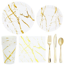 Gold Marbling Disposable Tableware Set Plate Napkin Adult Happy Birthday Party Decor Kids Wedding Birthday Party Supplies