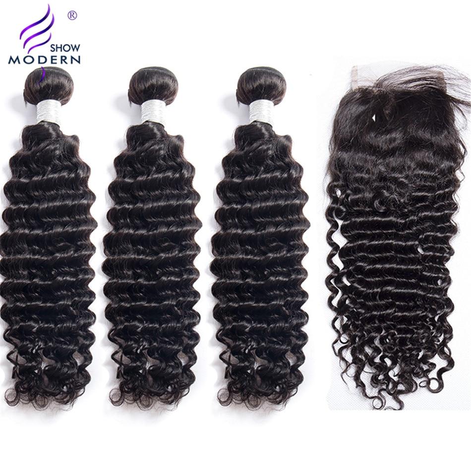 Hd8d4a23c20f94b00aaf7df5dd8142cd1k Deep Wave 3 Bundles with Closure Brazilian Hair Weave Modern Show Hair Human Hair Bundles with Closure Free Part Lace Non Remy