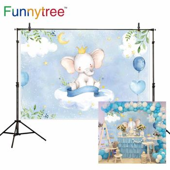 Funnytree Birthday Banner Elephant Cloud Leaves Balloons Moon Stars Newborn Baby Shower Children Background Photophone Photozone image