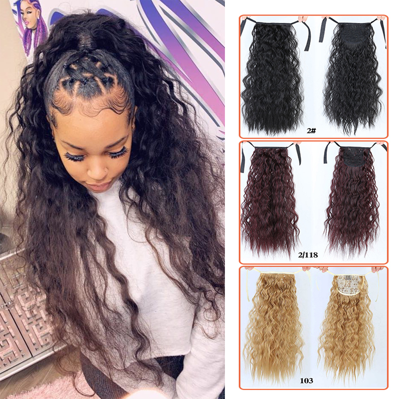 Long Curly Ponytail Hairpiece Heat Resistant Synthetic Hair Tail Clip Long Drawstring Ponytail Clip Hair Extensions