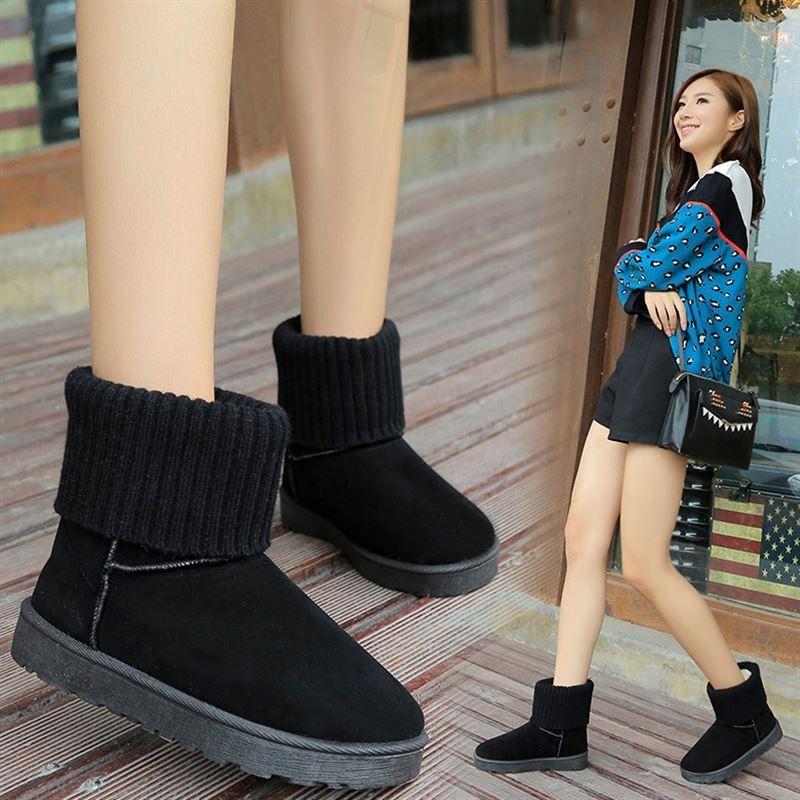 Snow boots female students cute cotton shoes plus velvet thick Korean women's shoes winter new short boots flat women's boots