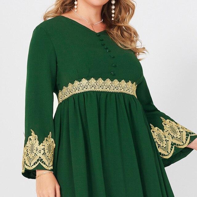 Spring  Autumn New Women's Fashion V-neck Lace Stitching Long Banquet Elegant Plus Size Slim Long-sleeved Dress 4