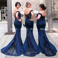 Royal Blue Lace Mermaid Bridesmaid Dresses 2020 Off The Shoulder Appliques Long Maid Of Honor Wedding Party Dresses For Women