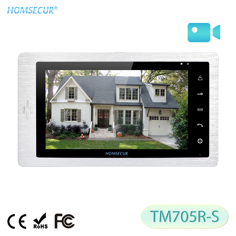 HOMSECUR 7inch Door Phone Monitor TM705R-S with Recording and Photo Taking For HDW Wired Video Door Phone Intercom System title=
