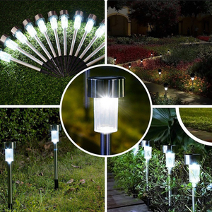 Image 5 - Aimkeeg 10pcs נירוסטה עמיד למים LED שמש אורות דשא חיצוני מנורת שמש גן דקורטיבי שמש בחצר אור