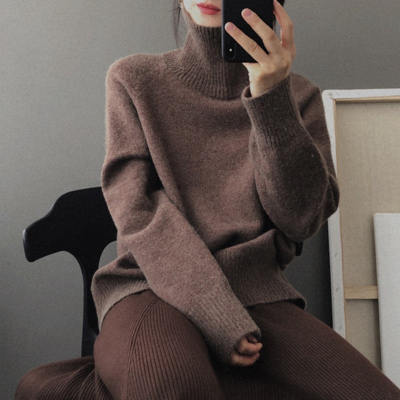 Женский кашемировый свитер GIGOGOU, Свободный теплый шерстяной пуловер оверсайз с высоким воротником и длинным рукавом, для осени и зимы|Водолазки| | АлиЭкспресс