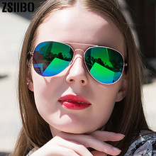 Vintage Sunglasses For Women Metal Reflective flat lens Sun Glasses Female oculo