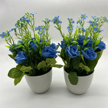 Artificial Potted Simulation Small Silk Blue Rose Flowers DIY Home Garden Table Decoration Plant Bonsai Gifts succulents plant spring grass plant succulents plant grass diy bonsai potted garden home exotic plant ornamental bonsai
