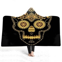Skull Hooded Blanket For Adults Childs 3D Printed Soft Plush Sofa Wearable Warm Throw Home Travel Picnic