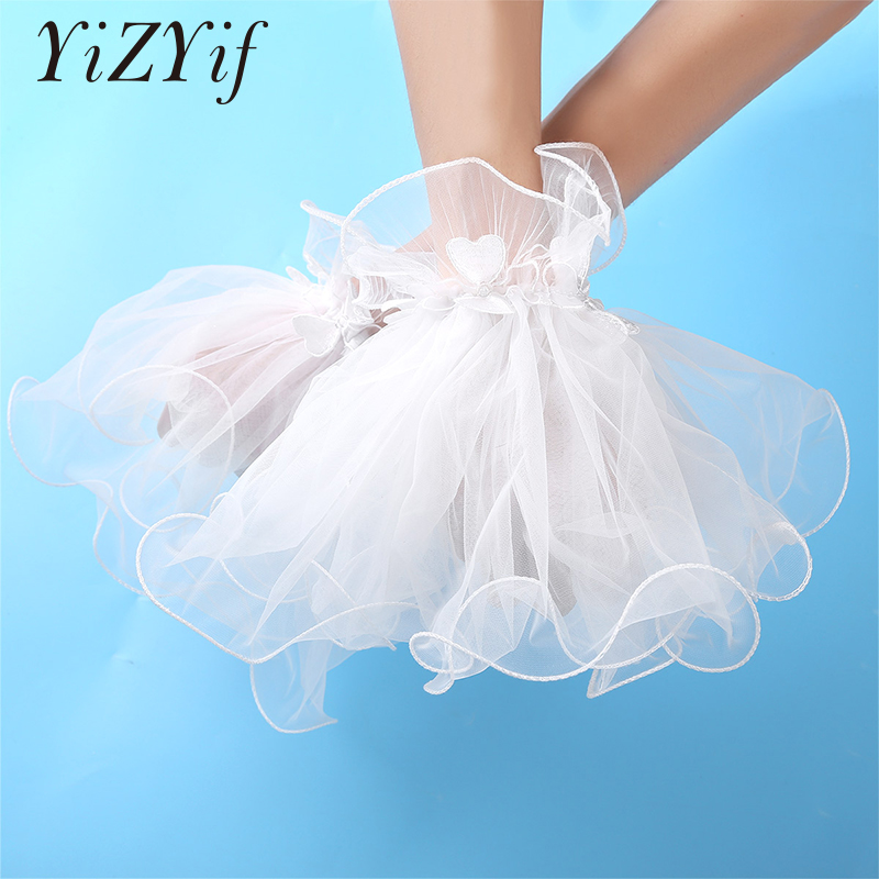 Vintage Ruffled Wrist Cuffs Lace Mesh Bracelet False Sleeves Wrist Cuffs Clothing Accessories For Wedding Dancing Costume Party