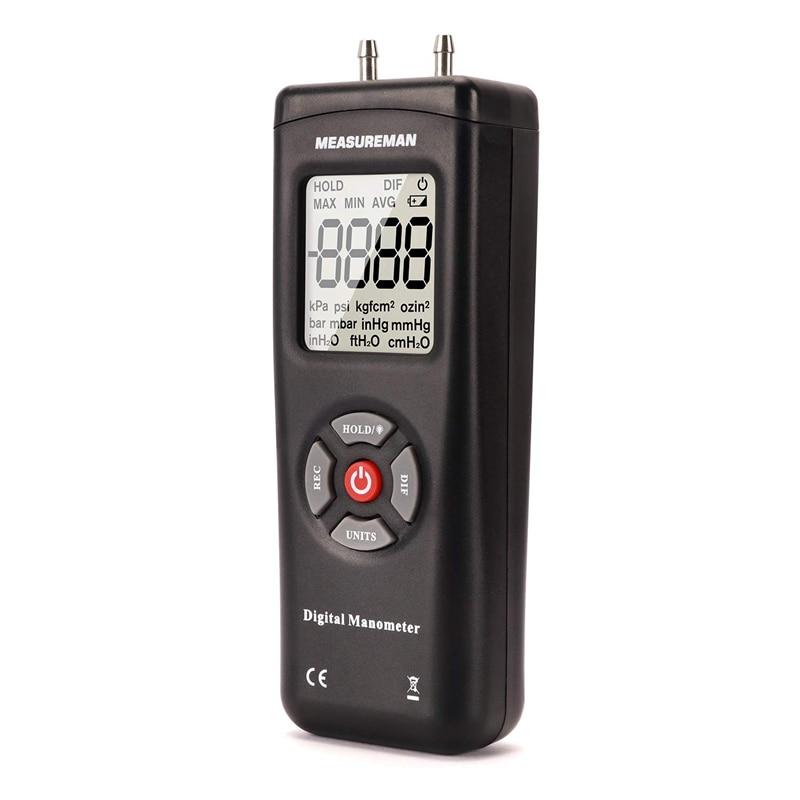 Handheld Digital Differential Pressure Gauge, Vacuum and Pressure Gauge Meter Tester 11 Units with Backlight,+/-2Psi/Kpa
