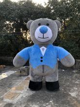 صافي الأحمر نفخ Gentleman الأزرق الدب أفخم الكرتون التميمة دمية زي الكبار المشي تظهر نفخ دعوى دمية 2.6 متر