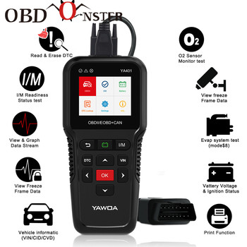 цена на Scan Tool  OBDII code reader Scanner support full obd2 Battery tester auto obd2 diagnostic tool YA401 free update Print Function