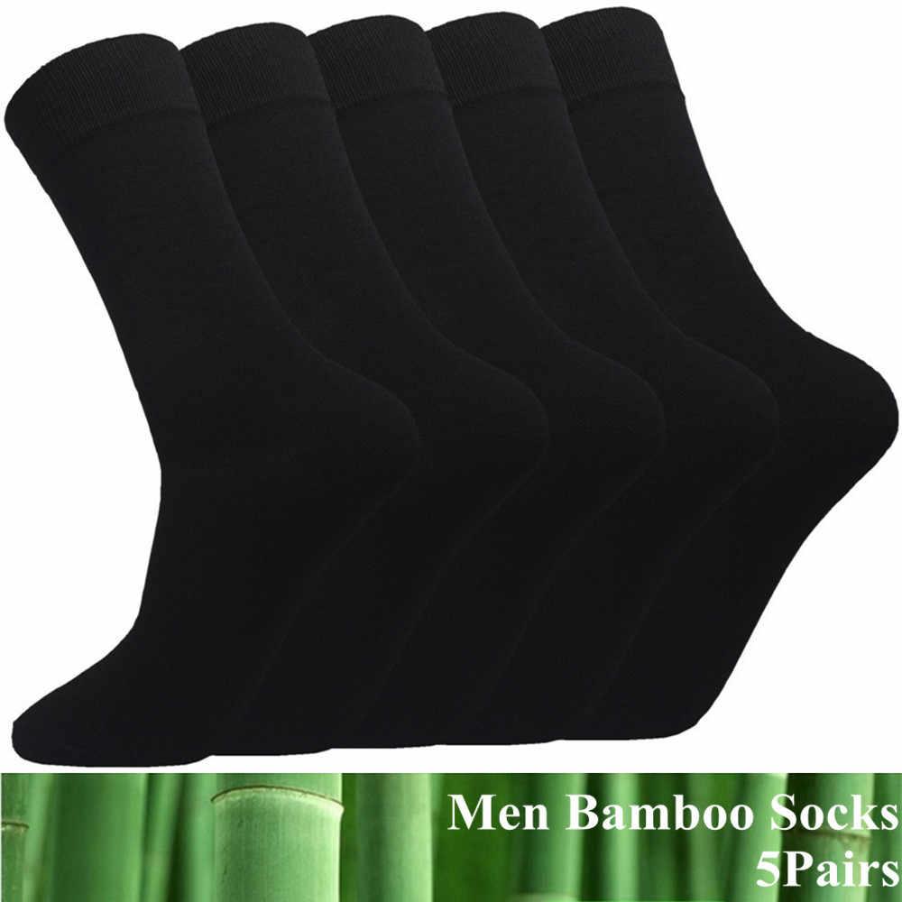 5 Paar Veel Mannen Bamboe Katoenen Sokken Zwarte Lange Casual Business Hoge Stretch Ademend Grote Jurk Sokken Fit Voor Mannen voeten 39-46