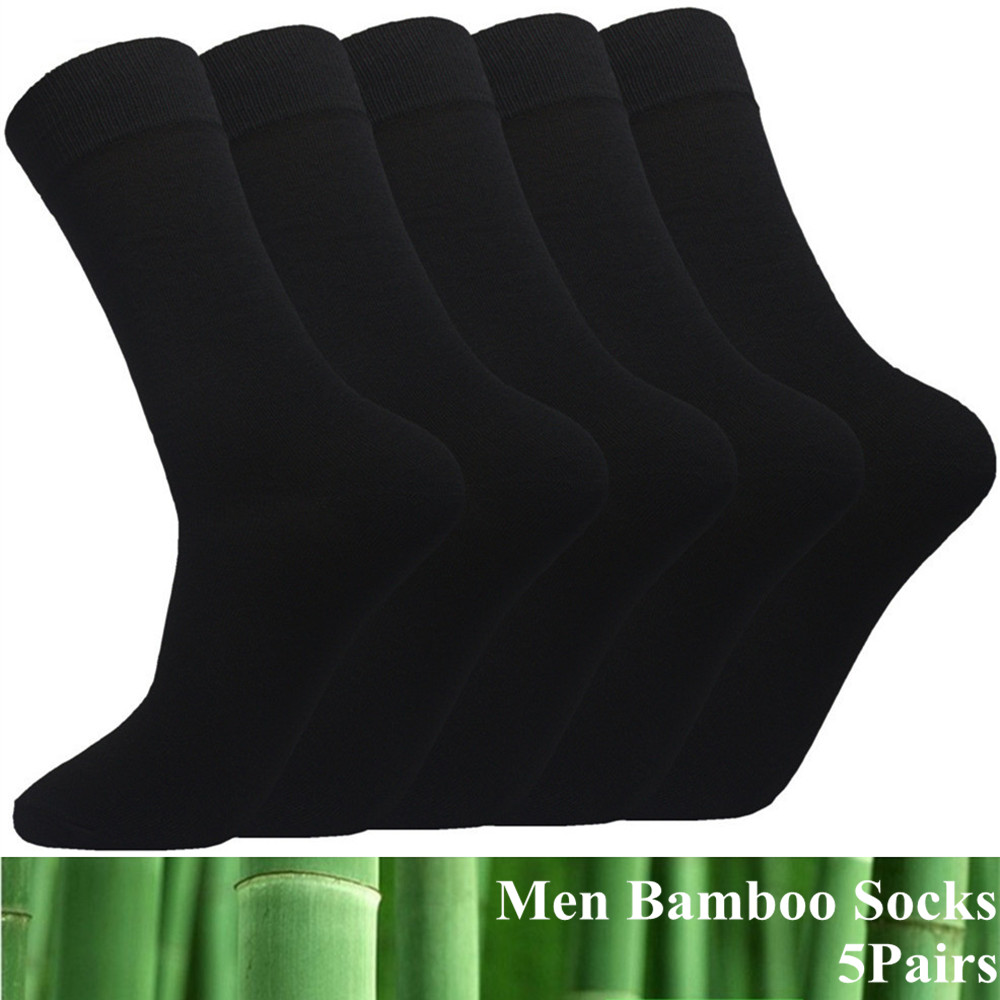 5 Pairs Lot Men Bamboo Cotton Socks Black Long Casual Business High Stretch Breathable Large Dress Socks Fit For Men Feet 39-46