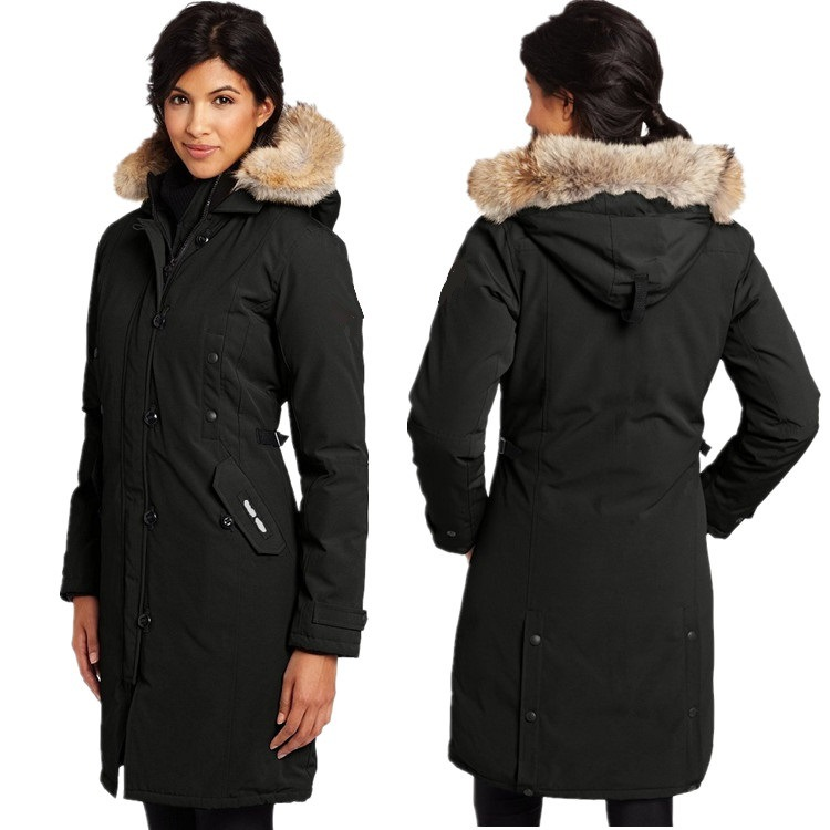 Canadian Star with The Same Paragraph Warm Thick Cold Resistant Waterproof Slim Long Ladies Goose   Down   Jacket   Coat   Large Clothes