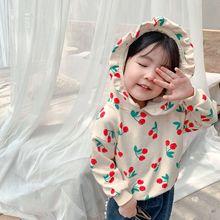 New autumn Korean style sweet full cherry print cute hooded sweatshirt for girls
