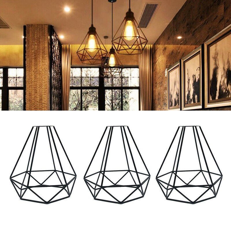 New Lampshade Only Retro Edison Metal Wire Cage Shaped Hanging Pendant Light Shade Chandelier Lamp Cover Without Bulb 1pcs