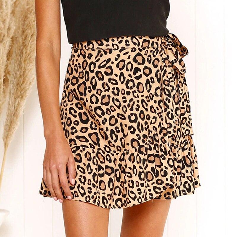 Spring Summer Women Skirt Ruffle Bandage Leopard Print Mini Skirt Female 2020 Fashion Belt Irregular Bodycon Skirts Women DR1417