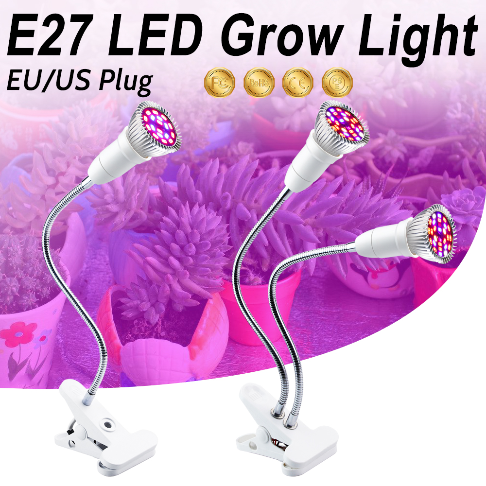 LED Grow Lamp Full Spectrum Fitolampy EU/US Clip Double Head 18W 28W Phyto Lamp E27 For Indoor Flowers Vegetables Plant Tent Box