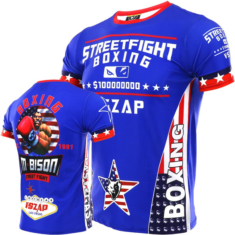 VSZAP Fighting MMA Thai Boxing Stretch Quick Dry Sports T-shirt Male Martial Arts Wind Fight Fitness Broadcast Beg Tyson