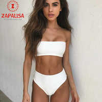 Top Fashion Beach Swimming Two Piece Solid Color Skinny Strapless Tops+Elastic Waist Briefs Summer Vacation Sexy Women Sets