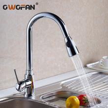 Kitchen Faucets Silver Single Handle Pull Out Kitchen Tap Single Hole Handle Swivel 360 Degree Water Mixer Tap Mixer Tap N22-032 kitchen faucets brass kitchen sink water faucet 360 rotate swivel faucet mixer single holder single hole white mixer tap n22 024