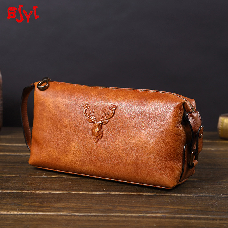 Soft Leather Men's Clutch Bag Large-capacity Leather Handbags Business Casual Fashion New Trend Bags Men Cotton Genuine Leather image