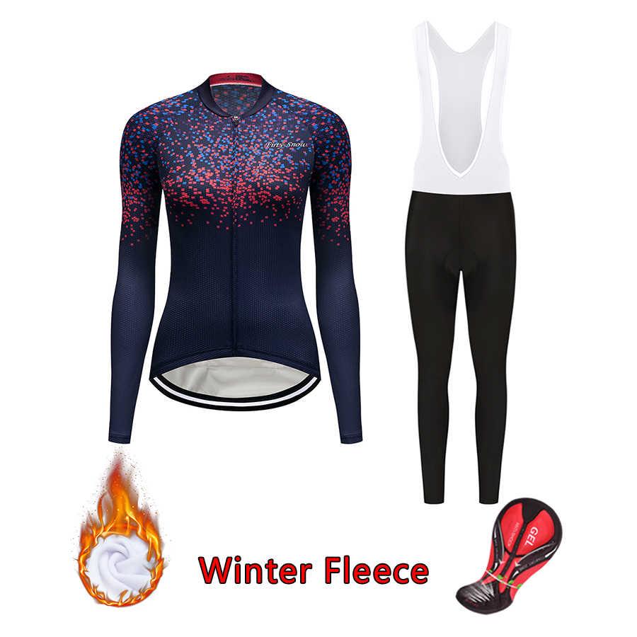 Ropa de ciclismo de invierno para mujer 2019 abrigo de lana térmica de bicicleta jersey conjunto de pantalones babero ropa de bicicleta femenina vestido deportivo traje mtb kit de